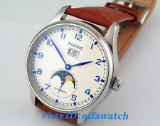 43mm Parnis Silver case Mechanical  automatic White dial Date men's Watch E1421