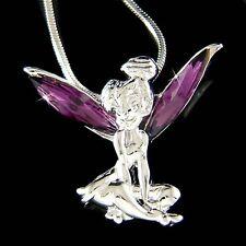 w Swarovski Kristall ~Tinkerbell~ Fee Engel Charme Anhänger Kette Halskette Lila