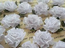 20! White Satin Rosette Ruffle Ribbon Rose Flower Applique Embellishments!