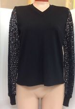 Chloe Sweater Black With Sheer Embroidered Sleeves  Size Sml NWT$1295