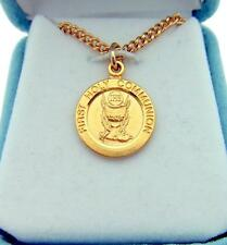 "MRT Gold Over Sterling Silver Girls Boys First Communion .65"" Medal 18"" Chain"