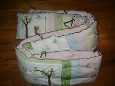 POTTERY BARN KIDS BUMPER PINK WHITE GREEN TREES BIRDS NURSERY 100% COTTON
