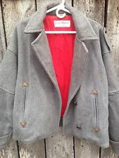 Vtg Yves Saint Laurent Menswear Military Gray Double-Breasted Men's Bomber Coat