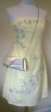 Jane Norman UK 16 pale lemon/silver embroidered diamonte bandeau Summer dress