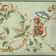 Cute Monkey Musicians in Tree Branches - ONLY $8 - Wallpaper Border A121