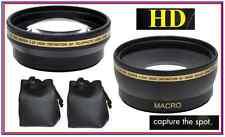 Telephoto & Wide Angle 2Pc Pro Hi Def Lens for Panasonic Lumix DMC-GF5K DMC-GF5