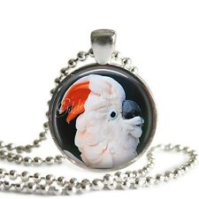 MOLUCCAN COCKATOO EXOTIC BIRD PARROT Glass Bezel Altered Art Pendant Necklace