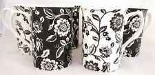 Verona Mugs Set of 6 Black & White Fine Bone China Mugs Hand Decorated in the UK