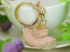 Pearls Hat Keyring Rhinestone Crystal Charm Jewelry Women Bag Buckle Key Chain