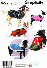 Simplicity Sewing Pattern 8277 Dog Clothes S-L Coats  Hood Hats Hoodie