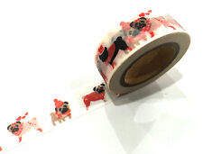 1PC Japanese Washi Tape Craft Sticker, Baby Puppy Pug Dog Love Heart 10METRES