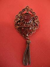 Beautiful Filigree Antique Look Neck Pin Brooch with Red Cabochon Stone +Tassel