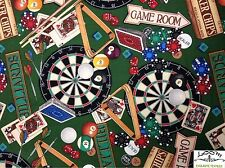 RPB93 Bar Games Darts Pool Billiards Poker Cards Sports Cotton Quilting Fabric
