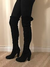 Size 6 Miss Pap Black Faux Suede Tight Thigh High Boots Heels NEW Chic Classy