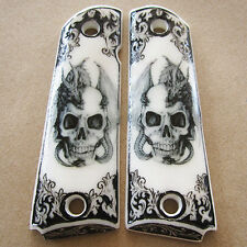 1911 Grips Colt Kimber Clone Skull N Dragon Custom Resin Pistol Grip Full Size