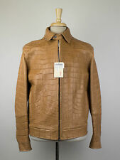 New. BRIONI Brown Crocodile Leather Zip-Up Jacket Size 50/40/M $98,000