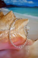 White Pearl Bead & Swarovski Crystal + Italian .925 Silver Anklet 8 to 10 inches