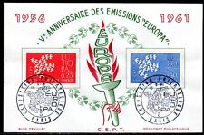 THEME EUROPEEN FRANCE 1961 BLOC FEUILLET DOCUMENT PHILATELIQUE PARIS