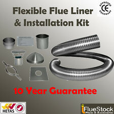11m of 6 inch Flexible flue liner & installation kit 4  woodburning stove