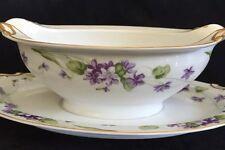 Vintage Noritake China Nancy Pattern Oval Gravy Boat w Underplate Violets