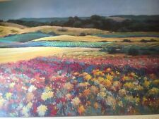 FINE ART LITHOGRAPH: Dahlias And Golden Fields By Lise Shearer 27 X 38