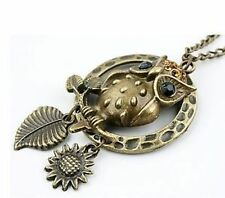 Art Deco vintage emo antique bronze black owl necklace