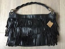 FURLA Luxury Black Leather Fringes Handbag - Chic And Rare