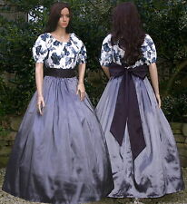 Ladies Victorian American Civil War 3pc costume fancy dress size 16-18 Grey&bl