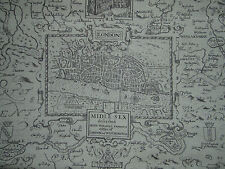 "THIBAUT ANNIVERSARY FABRIC DESIGN ""London Map""  2 METRES LINEN (200CM)"