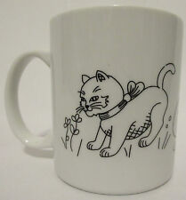 Unique Cats Playing Outline Artistic Coffee Cup Mug White Kittens Cat Play Pet