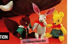 VINTAGE WOODLAND TOYS squirrel,bear & rabbit - COPY toy sewing pattern