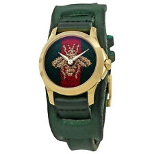 Gucci G-Timeless Red and Green Nylon Dial Ladies Leather Watch YA126545