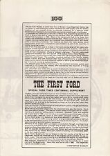 Ford Quadricycle 1896 Ford Times Supplement Reprint UK Market Brochure