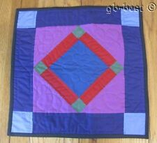 PA Amish Square in Square TABLE Doll Quilt Blue Green 15 x 15.5""