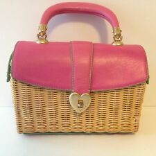 JUICY COUTURE HANDBAG RATTAN WICKER PINK LEATHER SATCHEL PURSE GOLD HEART CLASP