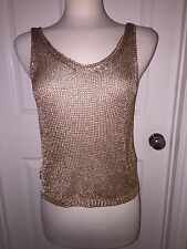 Pre-Owned TopShop Woman's Metal Yarn V-Neck Tank Top Copper Size 4