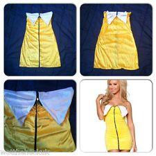 Womens Sexy Halloween Banana Mini Party Fancy Dress Costume Fruit Zip Size 8-14
