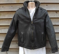 Timberland Weathergear Black Leather Bomber Jacket - S - c2005