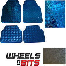 BLUE METAL Metallic Aluminium Checker Plate Look 4 pcs Universal Car Mats Set