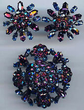 SCHREINER VINTAGE SAPPHIRE BLUE & PURPLE RHINESTONE PIN AND EARRINGS SET