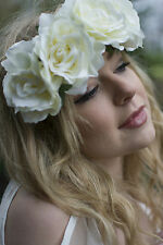 Large Ivory Cream Rose Flower Headband Coachella Boho Festival Hair Band Big Q29