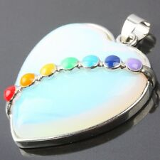 7 Bead Chakra Opal/Opalite Stone Heart LOVE Gemstone Charms Pendant Fit Necklace