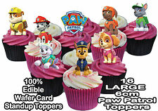 Paw Patrol STAND UP Large 6cm Birthday Cup Cake Toppers Edible Rice Wafer Card