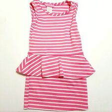 Peplum Dress 2T Pink White Striped Dream Girl Toddler Fashion Girly Made in USA