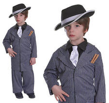 Childrens Gangster Pinstripe Fancy Dress Costume Suit Bugsy Malone L