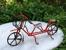 Miniature Dollhouse FAIRY GARDEN ~ Small Rustic Red Tandem Metal Bicycle for Two