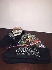 NEW WT Star Wars Stocking Cap/ Skull Cap Comic Strip Style W/ Stretch Gloves