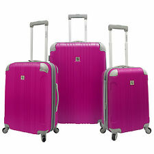 Beverly Hills Country Club Malibu 3-Piece Pink Spinner Suitcase Luggage Bag Set