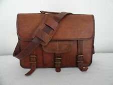 "15"" Vintage Briefcase Satchel Soft Leather Laptop Messenger Bag Shoulder NEW"