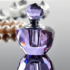 Purple Small Crystal Cut Glass Perfume Bottle Fragrance Container Home Decor 1ml